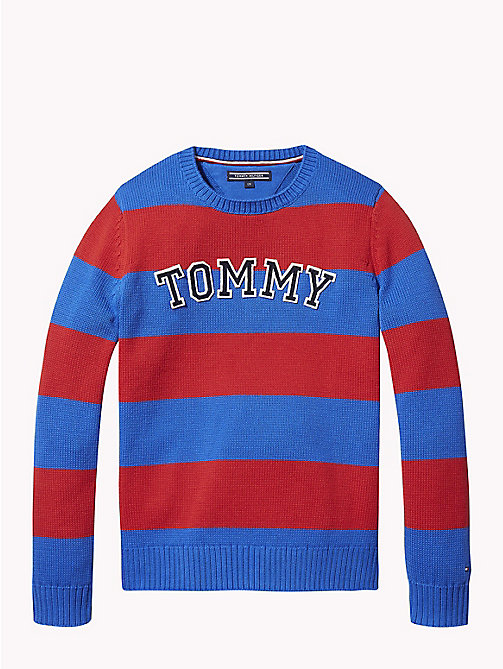 TOMMY HILFIGER Rugby Stripe Tommy Hilfiger Logo Jumper - OLYMPIAN BLUE/APPLE RED - TOMMY HILFIGER Knitwear - main image
