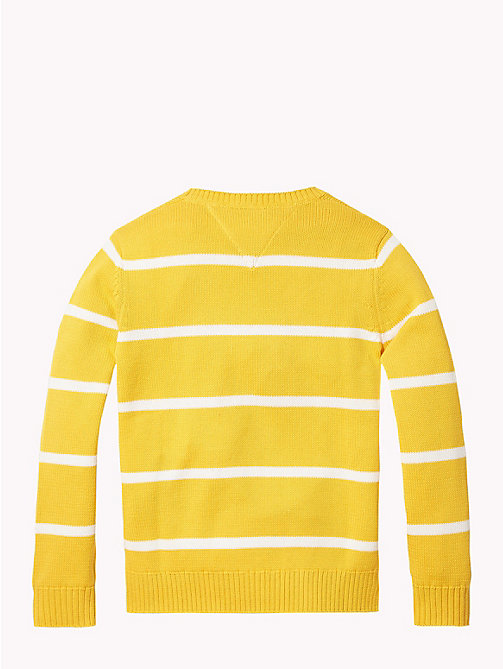 TOMMY HILFIGER Rugby Stripe Tommy Hilfiger Logo Jumper - SPECTRA YELLOW/SNOW WHITE - TOMMY HILFIGER Boys - detail image 1