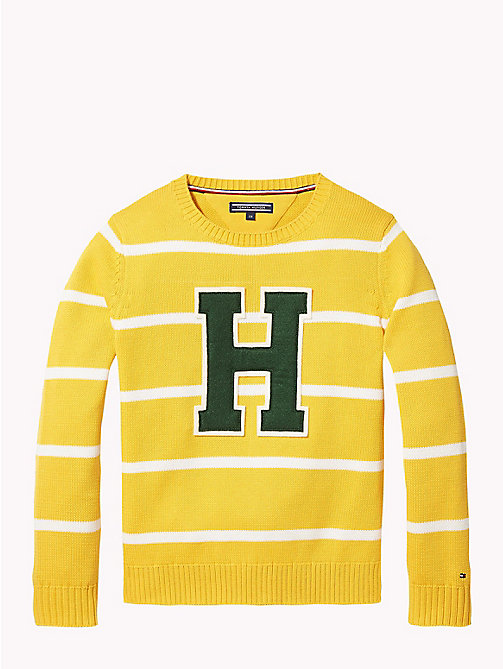 TOMMY HILFIGER Rugby Stripe Tommy Hilfiger Logo Jumper - SPECTRA YELLOW/SNOW WHITE - TOMMY HILFIGER Knitwear - main image