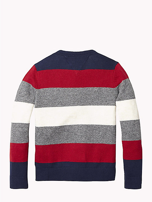 TOMMY HILFIGER Stripe Crew Neck Jumper - BLACK IRIS / MULTI - TOMMY HILFIGER Boys - detail image 1