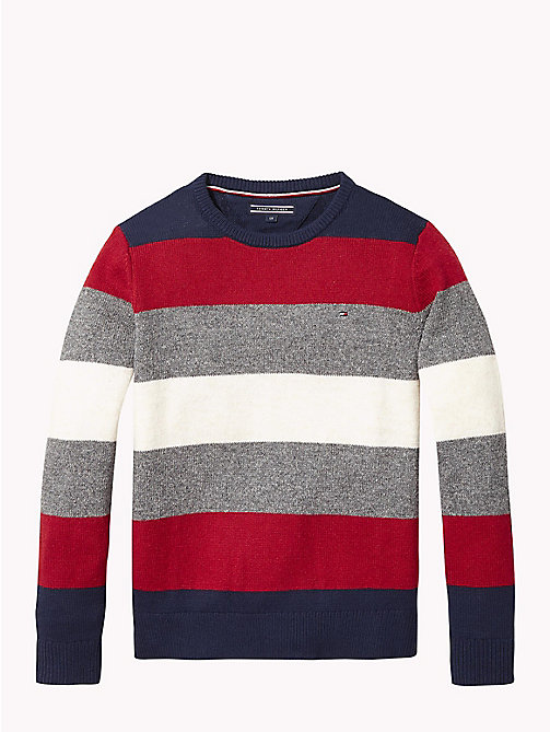 TOMMY HILFIGER Stripe Crew Neck Jumper - BLACK IRIS MULTI - TOMMY HILFIGER Knitwear - main image