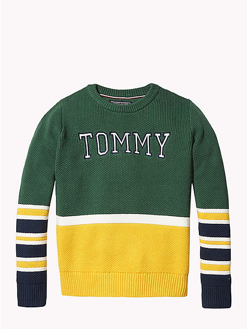 TOMMY HILFIGER Colour-blocked trui van gekamd katoen - HUNTER GREEN / MULTI - TOMMY HILFIGER Jongens - detail image 1