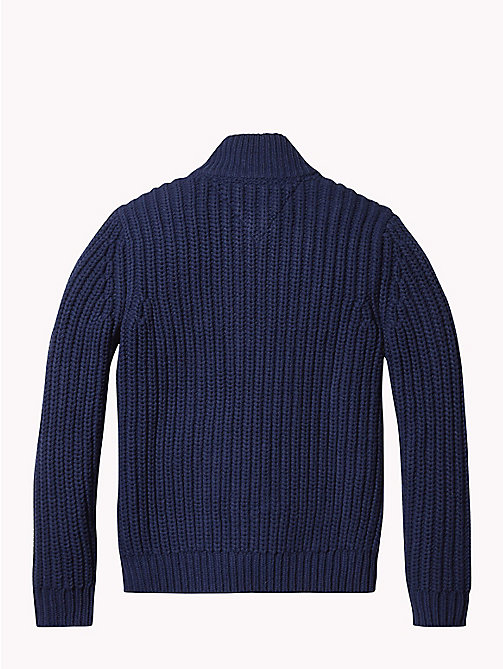 TOMMY HILFIGER Chunky Knit Zip-Neck Jumper - BLACK IRIS - TOMMY HILFIGER Boys - detail image 1