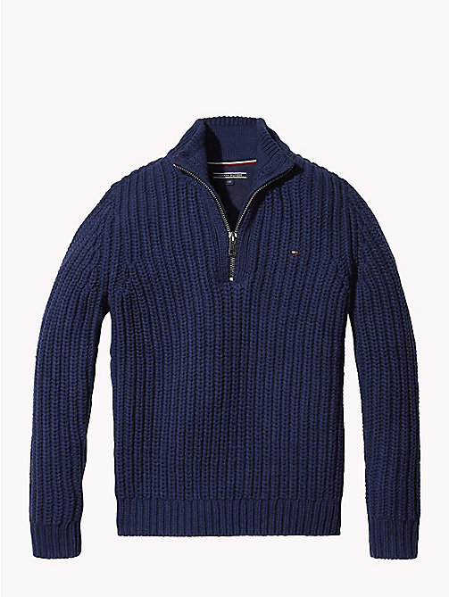 TOMMY HILFIGER Chunky Knit Zip-Neck Jumper - BLACK IRIS - TOMMY HILFIGER Knitwear - main image