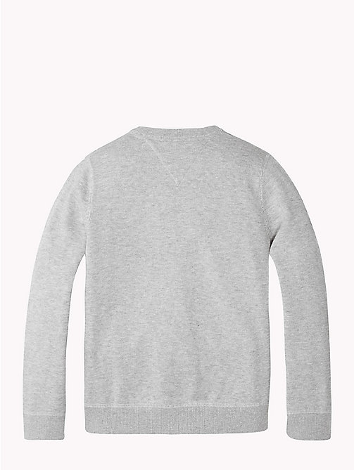 TOMMY HILFIGER Towelling Logo Jumper - GREY HEATHER - TOMMY HILFIGER Knitwear - detail image 1