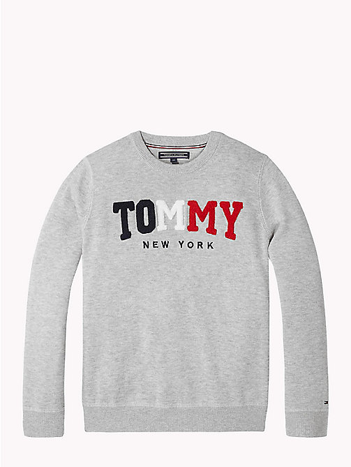 TOMMY HILFIGER Logo-Pullover aus Frottee - GREY HEATHER - TOMMY HILFIGER Pullover & Strickjacken - main image
