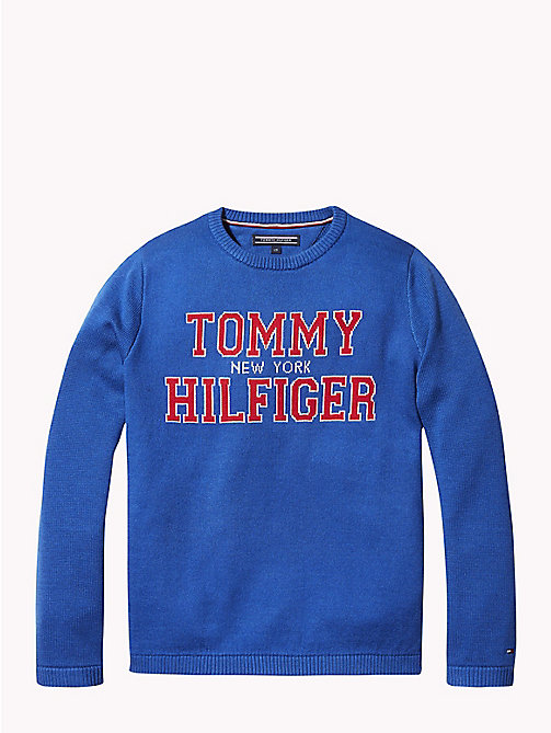TOMMY HILFIGER Pullover jacquard con logo - OLYMPIAN BLUE - TOMMY HILFIGER Maglieria - immagine principale