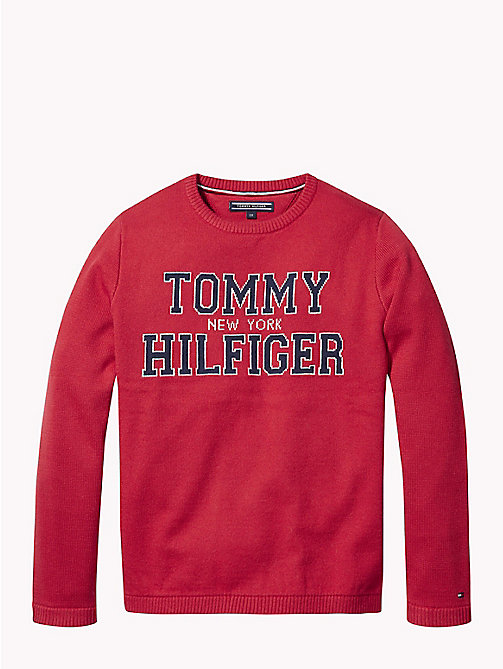 TOMMY HILFIGER Logo-Pullover aus Jacquard - APPLE RED - TOMMY HILFIGER Pullover & Strickjacken - main image