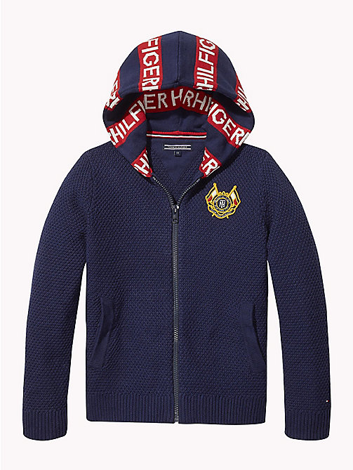 TOMMY HILFIGER Textured Crest Hoody - BLACK IRIS - TOMMY HILFIGER Knitwear - main image