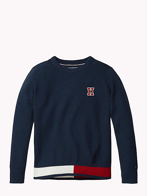 TOMMY HILFIGER Flag Hem Jumper - BLACK IRIS - TOMMY HILFIGER Boys - main image