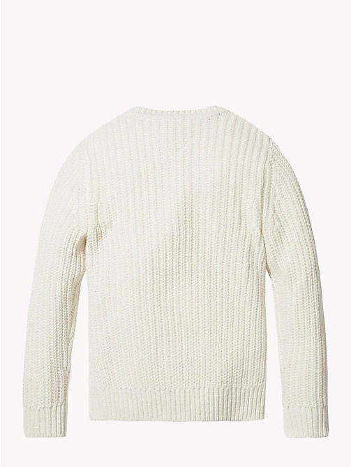 TOMMY HILFIGER Tommy Hilfiger Flag Chunky Knit Jumper - BRIGHT WHITE - TOMMY HILFIGER Knitwear - detail image 1