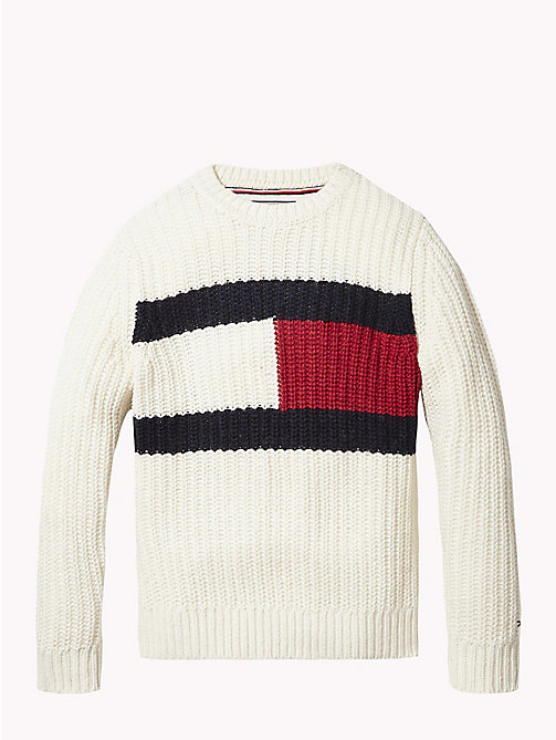TOMMY HILFIGER Tommy Hilfiger Flag Chunky Knit Jumper - BRIGHT WHITE - TOMMY HILFIGER Knitwear - main image