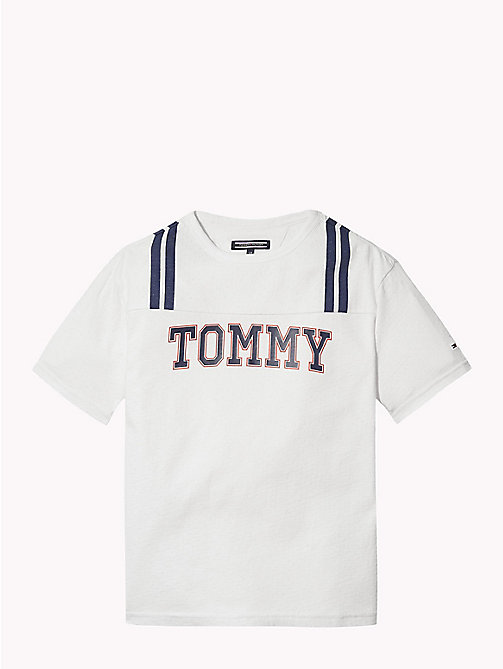 TOMMY HILFIGER Logo Cotton Mesh T-Shirt - BRIGHT WHITE / MULTI - TOMMY HILFIGER T-shirts & Polos - main image