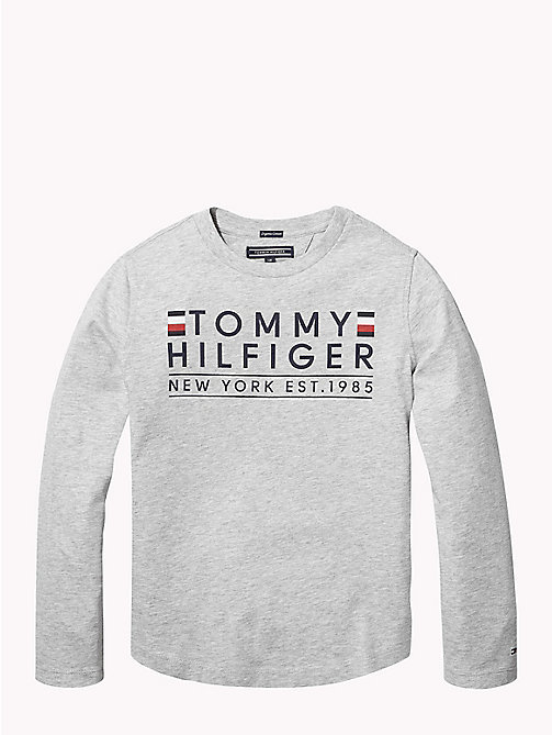 TOMMY HILFIGER T-shirt a maniche lunghe in cotone biologico - GREY HEATHER - TOMMY HILFIGER T-shirts & Polo - immagine principale