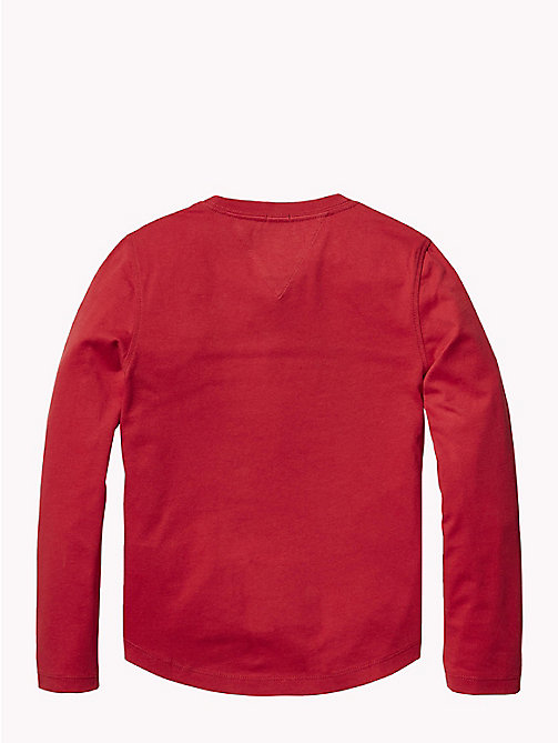 TOMMY HILFIGER Organic Cotton Long Sleeve T-Shirt - APPLE RED - TOMMY HILFIGER T-shirts & Polos - detail image 1