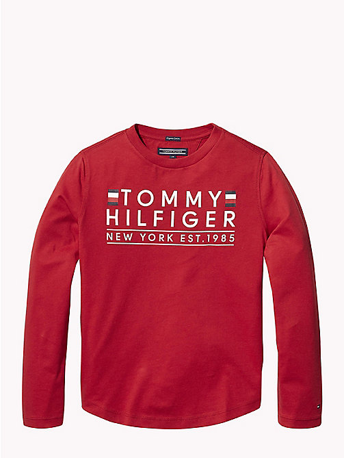 TOMMY HILFIGER T-shirt a maniche lunghe in cotone biologico - APPLE RED - TOMMY HILFIGER T-shirts & Polo - immagine principale