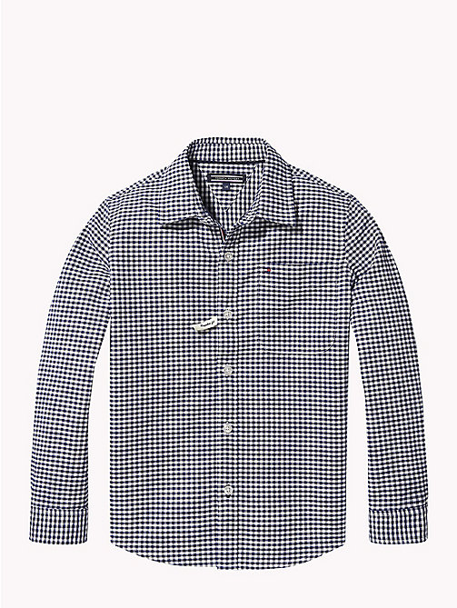 TOMMY HILFIGER Gingham Oxford Shirt - BRIGHT WHITE / BLACK IRIS - TOMMY HILFIGER Boys - main image