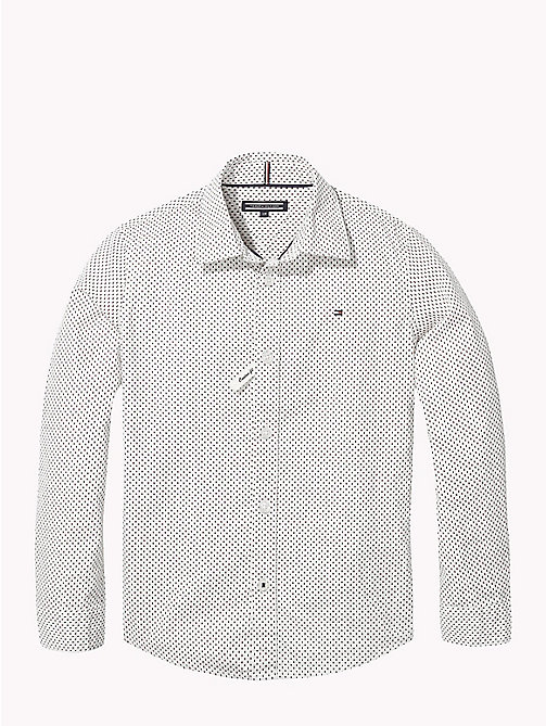 TOMMY HILFIGER Print Cotton Poplin Shirt - BRIGHT WHITE / MULTI - TOMMY HILFIGER Boys - main image