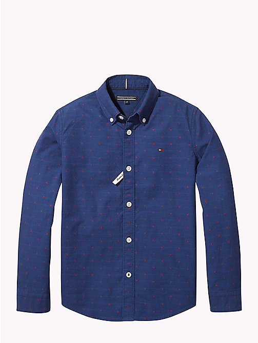 TOMMY HILFIGER Spot Dobby Cotton Shirt - BLACK IRIS - TOMMY HILFIGER Shirts - main image