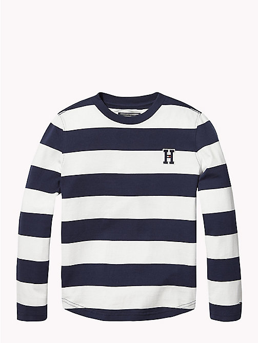 TOMMY HILFIGER Monogram Rugby Stripe Jumper - BLACK IRIS / BRIGHT WHITE - TOMMY HILFIGER Knitwear - main image