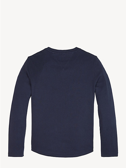 TOMMY HILFIGER Rib-Knit Long Sleeve T-Shirt - BLACK IRIS - TOMMY HILFIGER T-shirts & Polos - detail image 1