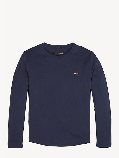 TOMMY HILFIGER Rib-Knit Long Sleeve T-Shirt - BLACK IRIS - TOMMY HILFIGER T-shirts & Polos - main image