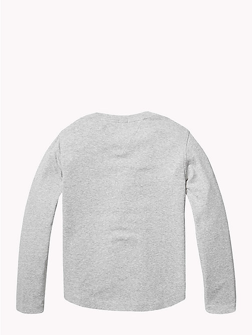 TOMMY HILFIGER Organic Cotton Rib Knit T-Shirt - GREY HEATHER - TOMMY HILFIGER Knitwear - detail image 1