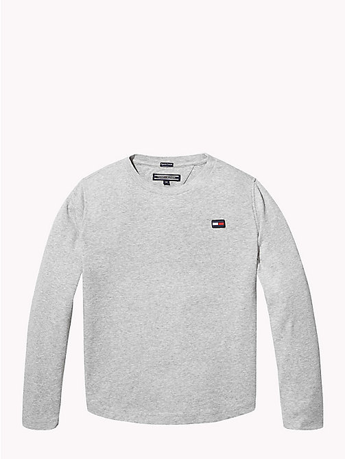 TOMMY HILFIGER Organic Cotton Rib Knit T-Shirt - GREY HEATHER - TOMMY HILFIGER Knitwear - main image