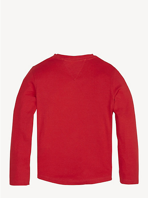 TOMMY HILFIGER Rib-Knit Long Sleeve T-Shirt - LYCHEE - TOMMY HILFIGER T-shirts & Polos - detail image 1
