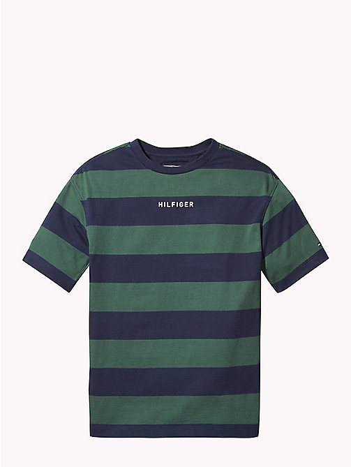 TOMMY HILFIGER Logo Rugby Stripe T-Shirt - BLACK IRIS/HUNTER GREEN - TOMMY HILFIGER T-shirts & Polos - main image