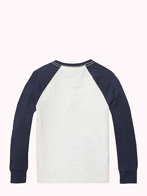 TOMMY HILFIGER Organic Cotton Raglan T-Shirt - BRIGHT WHITE / BLACK IRIS - TOMMY HILFIGER T-shirts & Polos - detail image 1