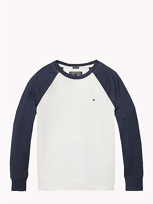 TOMMY HILFIGER Organic Cotton Raglan T-Shirt - BRIGHT WHITE / BLACK IRIS - TOMMY HILFIGER T-shirts & Polos - main image