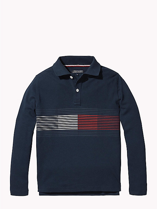 TOMMY HILFIGER Stripe Flag Polo Shirt - BLACK IRIS - TOMMY HILFIGER T-shirts & Polos - main image