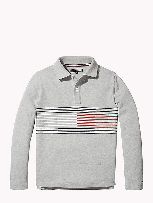 TOMMY HILFIGER Stripe Flag Polo Shirt - GREY HEATHER - TOMMY HILFIGER T-shirts & Polos - main image