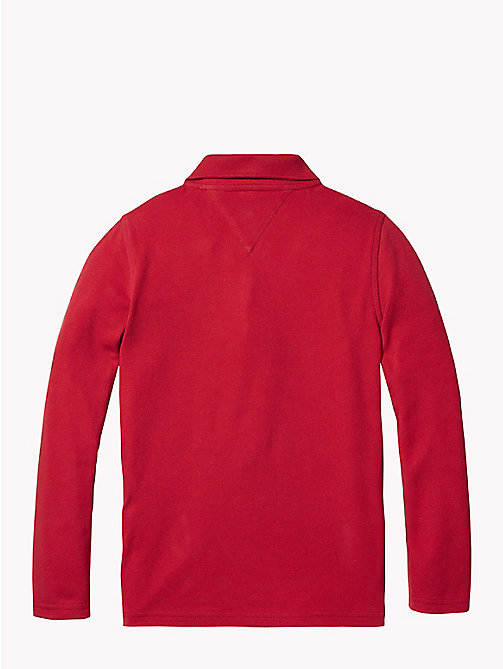 TOMMY HILFIGER Colour-Blocked Long Sleeve Polo - APPLE RED/MULTI - TOMMY HILFIGER T-shirts & Polos - detail image 1