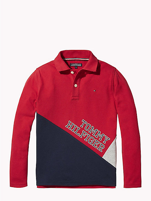 TOMMY HILFIGER Colour-Blocked Long Sleeve Polo - APPLE RED/MULTI - TOMMY HILFIGER T-shirts & Polos - main image