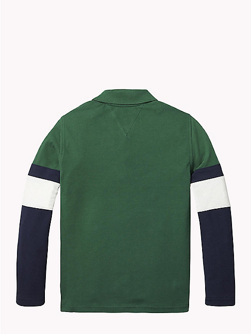 TOMMY HILFIGER ESSENTIAL PANEL PRINT POLO L/S - HUNTER GREEN/MULTI - TOMMY HILFIGER T-shirts & Poloshirts - main image 1