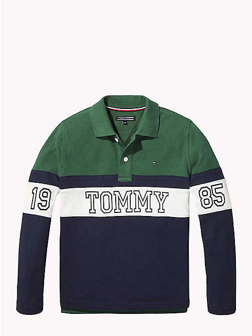 TOMMY HILFIGER ESSENTIAL PANEL PRINT POLO L/S - HUNTER GREEN/MULTI - TOMMY HILFIGER T-shirts & Poloshirts - main image
