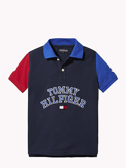 TOMMY HILFIGER COLOR BLOCK POLO S/S - BLACK IRIS MULTI - TOMMY HILFIGER T-shirts & Poloshirts - main image