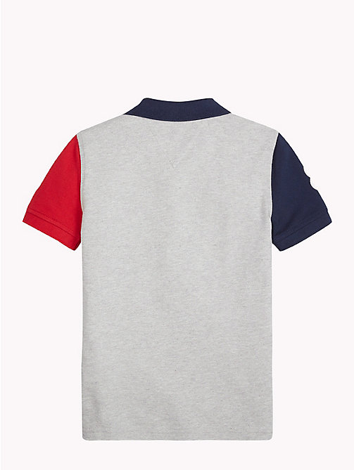 TOMMY HILFIGER Colour Block Polo Shirt - GREY HEATHER/MULTI - TOMMY HILFIGER T-shirts & Polos - detail image 1