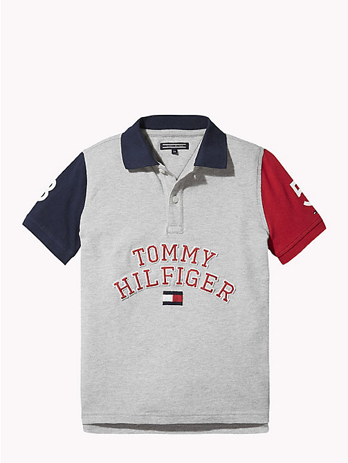 TOMMY HILFIGER Colour Block Polo Shirt - GREY HEATHER/MULTI - TOMMY HILFIGER T-shirts & Polos - main image