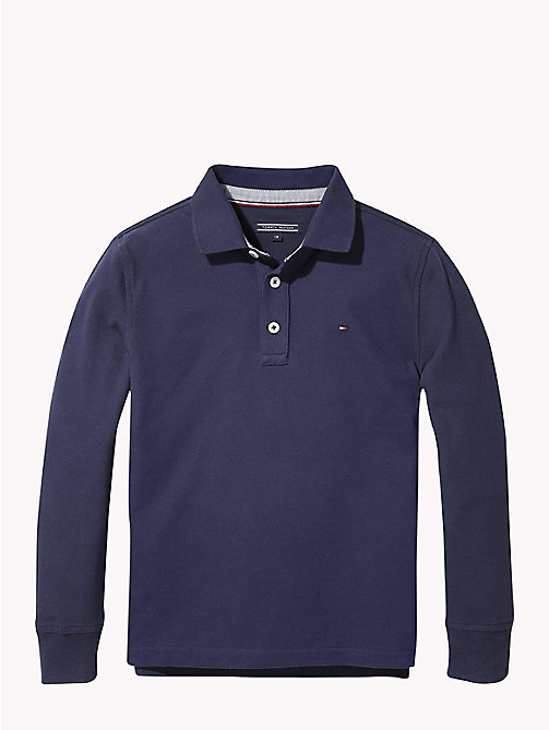 TOMMY HILFIGER Organic Cotton Long Sleeve Polo - BLACK IRIS - TOMMY HILFIGER T-shirts & Polos - main image