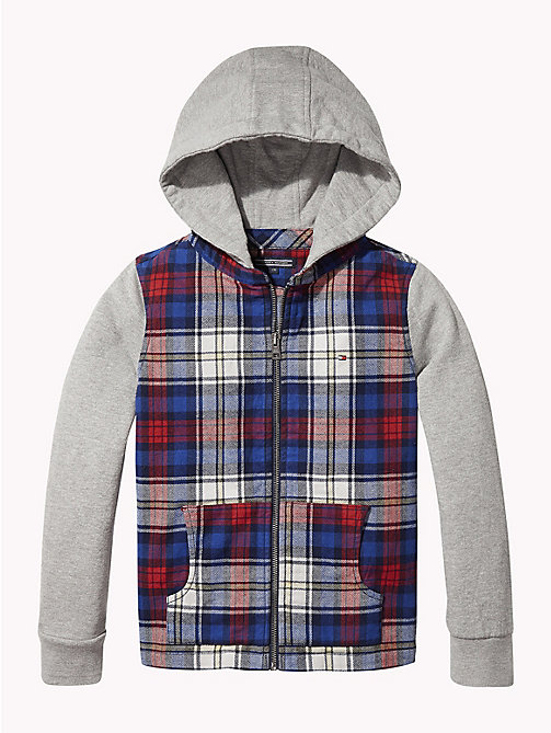 TOMMY HILFIGER Check Print Hooded Shirt - BLACK IRIS / MULTI - TOMMY HILFIGER Boys - detail image 1