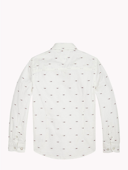 TOMMY HILFIGER Flag Print Cotton Shirt - BRIGHT WHITE / MULTI - TOMMY HILFIGER Shirts - detail image 1