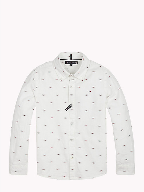 TOMMY HILFIGER Flag Print Cotton Shirt - BRIGHT WHITE / MULTI - TOMMY HILFIGER Shirts - main image