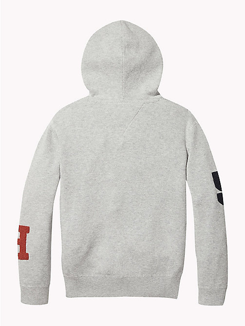 TOMMY HILFIGER Tommy Hilfiger Logo Towelling Hoody - GREY HEATHER - TOMMY HILFIGER Knitwear - detail image 1