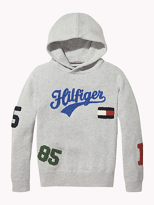 TOMMY HILFIGER Tommy Hilfiger Logo Towelling Hoody - GREY HEATHER - TOMMY HILFIGER Boys - main image
