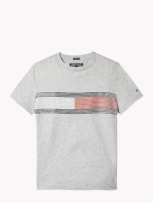 TOMMY HILFIGER T-shirt in cotone con stampa bandiera - GREY HEATHER - TOMMY HILFIGER T-shirts & Polo - immagine principale