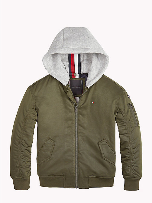 TOMMY HILFIGER Hooded Bomber Jacket - FOREST NIGHT - TOMMY HILFIGER Coats & Jackets - detail image 1