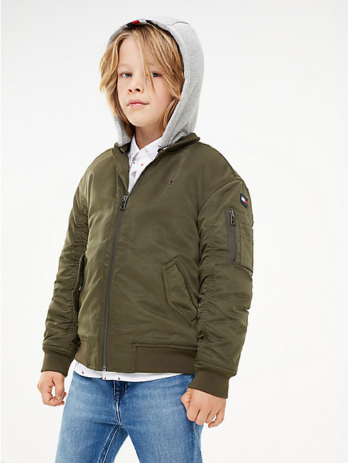 TOMMY HILFIGER Hooded Bomber Jacket - FOREST NIGHT - TOMMY HILFIGER Coats & Jackets - main image